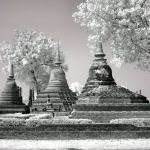 Ayuttaha City Ruins, Thailand fine art infrared black and white photography by Jacqueline LaRocca