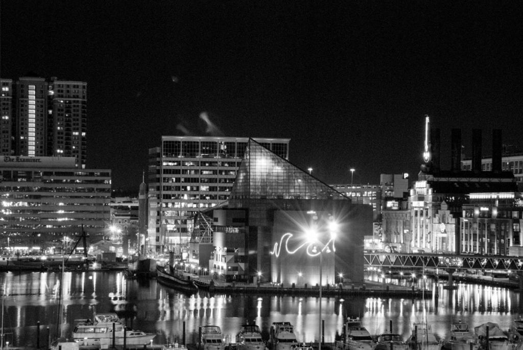 Baltimore at night black and white photography print by Jacqueline LaRocca