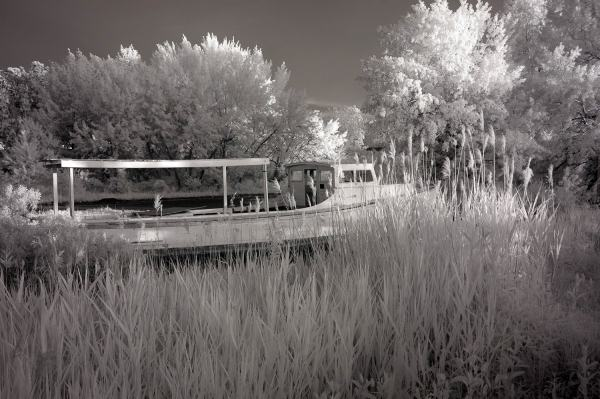 Fishing Boat In Winter, Tilghman, Maryland | black & white infrared photography |