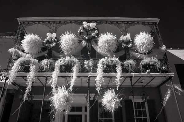 French Quarter Balcony, New Orleans, Louisiana | black & white infrared photography |
