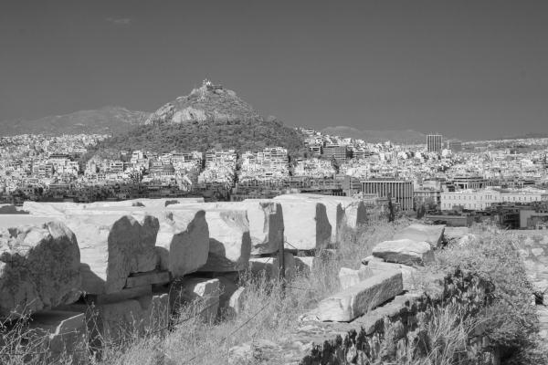 Mount Lycabettus, Athens, Greece | black & white infrared photography |