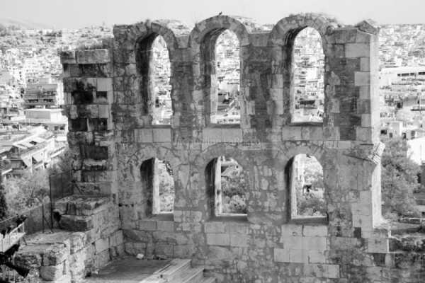 Odeon of Herodes Atticus-The Wall, Athens, Greece | black & white photography |