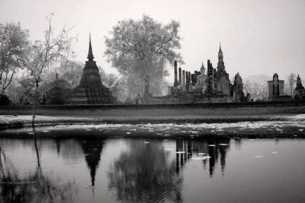 Relection of Sitting Buddha and Temple Ruins, Thailand | black & white infrared photography |