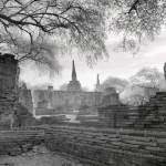 Ruins of Ancient Siam City of Ayuttaha, Thailand fine art infrared black and white photography by Jacqueline LaRocca