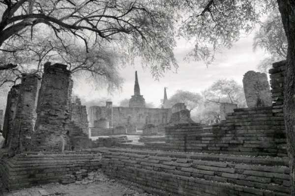 Ruins of Ancient Siam City of Ayuttaha, Thailand | black & white photography |