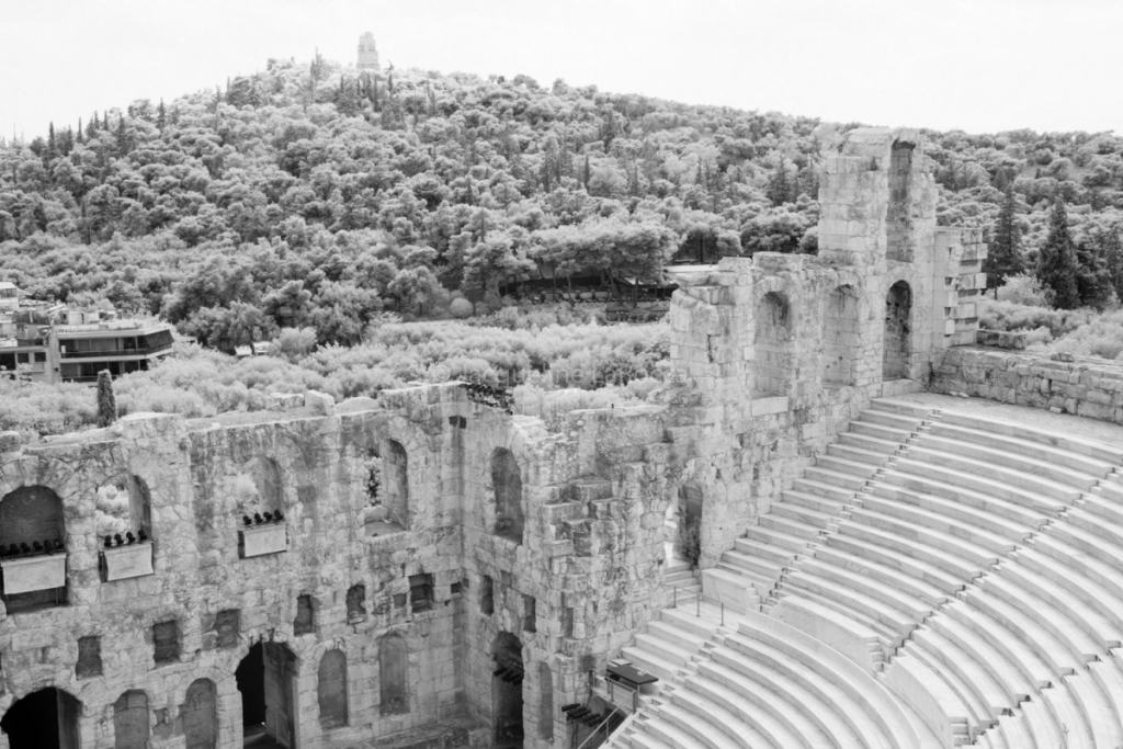 View from Odeon of Herodes Atticus   fine art black & white photography Athens