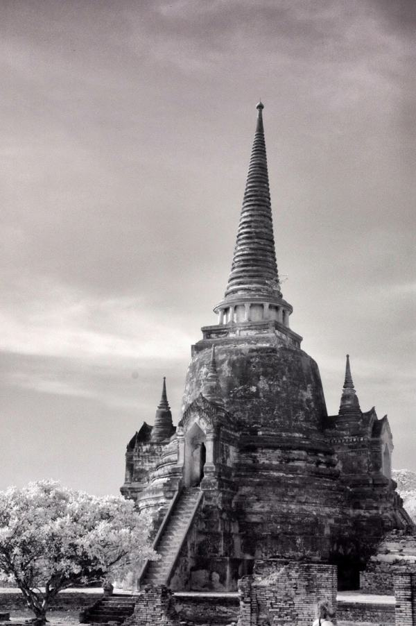 Wat Phra Si Sanphet and the Royal Palace, Thailand | black & white infrared photography |