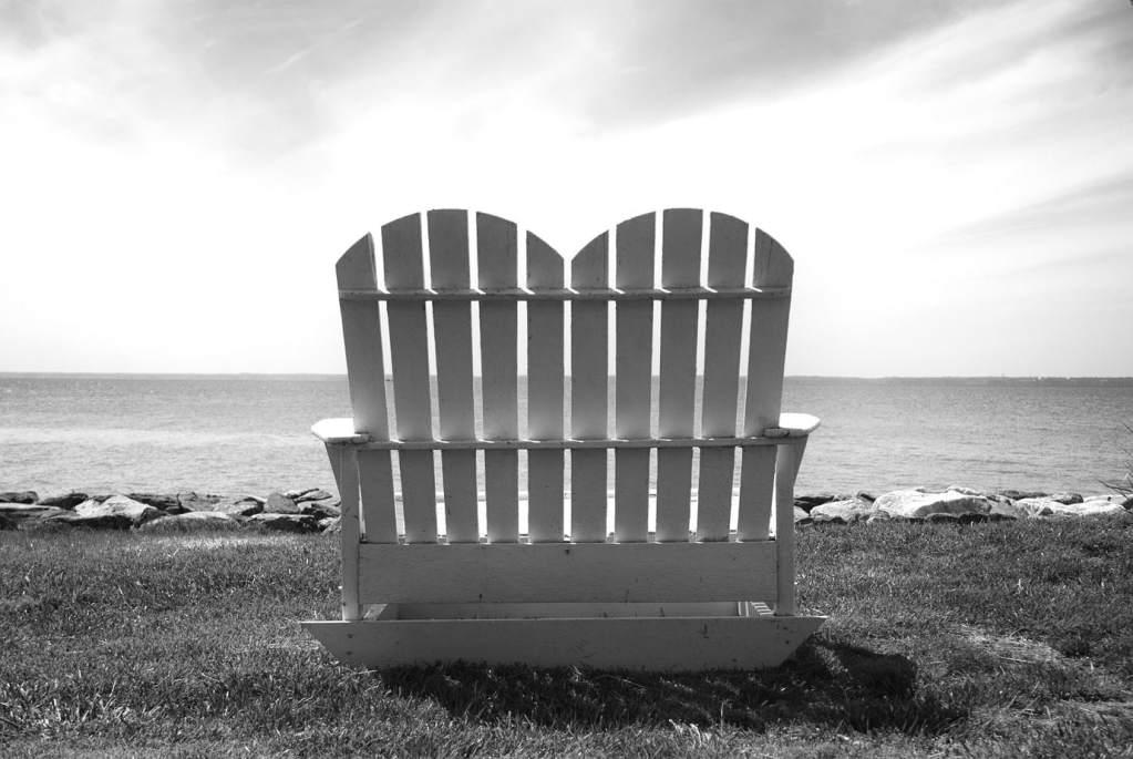 Adirondack Bench Black Walnut Point | black and white photography print by Jacqueline LaRocca
