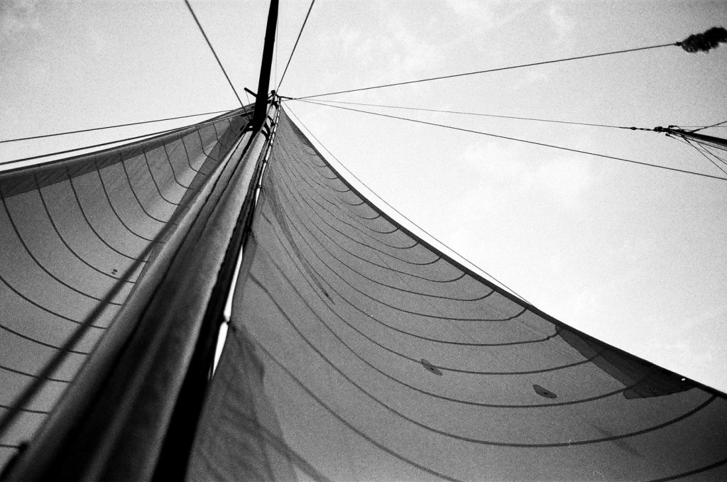Lady Patty Sailboat | black and white photography print by Jacqueline LaRocca
