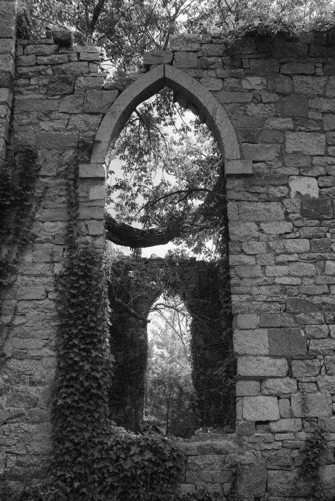 Ruins of Unionville Church black and white photography print by Jacqueline LaRocca
