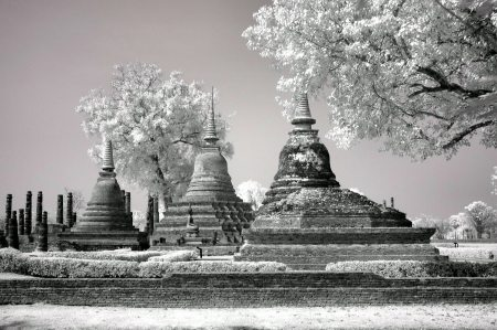 Ayuttaha City Ruins infrared black and white photography by Jacqueline LaRocca