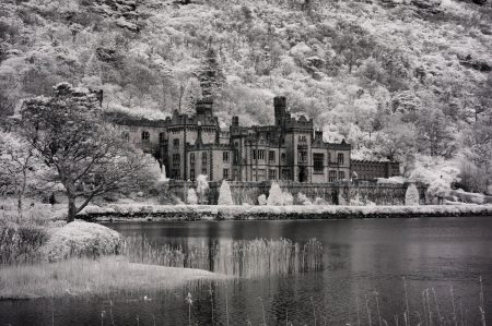 Kylemore Abbey, Galway, Ireland fine art infrared black and white photography by Jacqueline LaRocca