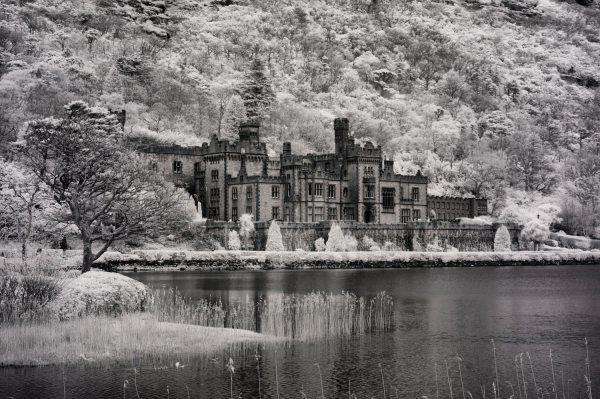 Kylemore Abbey< Galway, Ireland | black & white infrared photography