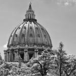 St. Peter's Basilica Rome, fine art infrared black and white photography by Jacqueline LaRocca